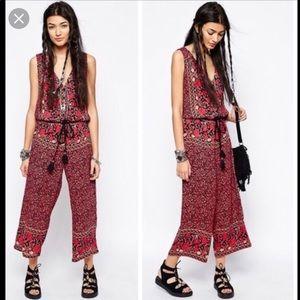 Free People Calotte Boho Jumpsuit Rope Belt Size M